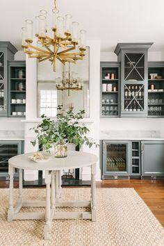 Darker green gray kitchen / gold kitchen / kitchen inspiration / kitchen design ideas