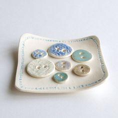 Button soap dish white porcelain blue natural aqua bathroom accessories decor gift box