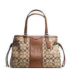 Coach Signature Stripe with Snake Drawstring Carryall Handbag (C1007)