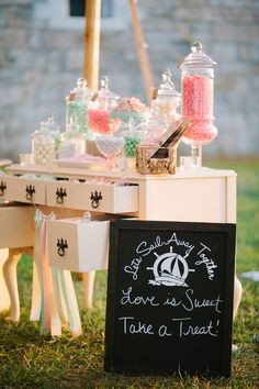 This Newport Harbor wedding from Eventfully Planned and Lisa Rigby features nautical details and a gorgeous white tent from Newport Tent Company. Nautical Candy Bar, Nautical Wedding, Chic Wedding, Newport Harbor, Shabby Chic, Candy Table, Party Treats, Confetti, Catering