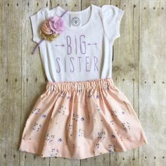 Girls big sister outfit pregnancy announcement by WillowBeeApparel