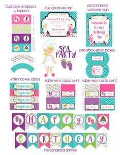 Spa Party Printables Package Spa Birthday by CoastalDaydreams
