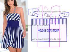 VESTIDO DE RISCAS AZUIS - Moldes Moda por Medida