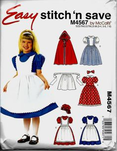 McCall's Stitch 'N Save 4567 Girls Storybook Costume Pattern, Dorothy, Red…