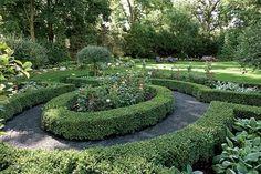 A formal rose garden.