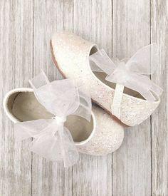 ac07875e9750 Girls shoes WHITE Rock Glitter Maryjane Flats With Chiffon Bow