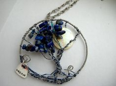 Silver and Blue Tree of Life Pendant with Mother by SpottedCraft, $45.00