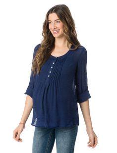3/4 Sleeve Pleated Maternity Top