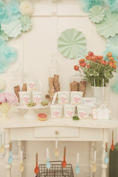 Gelato Bridal Shower Dessert Table and pale colour palette in the home