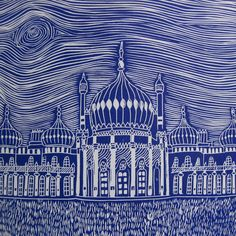 This is a dark blue original limited edition linocut of the Royal Pavilion in Brighton.