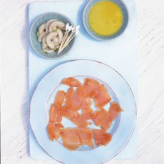 Lime-cured sea trout with wasabi dressing recipe. This salmon recipe makes a great starter for quite a formal meal, and a perfect canapé with ice-cold beers. Wasabi Recipes, Trout Recipes, Salmon Recipes, Easy Soup Recipes, Gourmet Recipes, Healthy Recipes, Healthy Omelette, Romantic Meals, Delicious Magazine