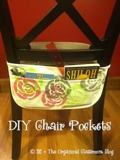 Make Your Own {No Sew} Chair Pockets! : Make Your Own {No Sew} Chair Pockets! Just simple aprons that were decorated. Only holds small ans light things but a great place to put a silent reading book. Easy access for when their desks get cluttered. Classroom Organisation, Teacher Organization, Classroom Design, Teacher Hacks, School Classroom, Classroom Management, Classroom Decor, Organizing, French Classroom