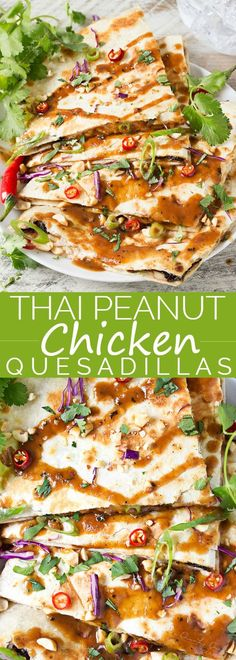 Thai Peanut Chicken Quesadillas - Thai chicken gets a fusion twist in these Thai peanut chicken quesadillas! Loaded with flavor and fun to make, try them tonight! Asian Recipes, Mexican Food Recipes, Dinner Recipes, Healthy Recipes, Fast Recipes, Fusion Food, Tacos, Tostadas, Turkey Recipes