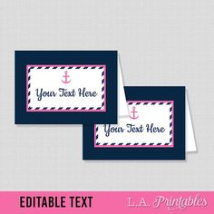 EDITABLE Food Tent Cards, Nautical Editable Food Labels, Anchor Navy & Pink Buffet Labels, Shower Place Cards, INSTANT PRINTABLE