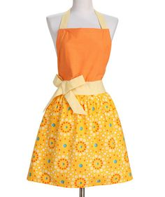 Another great find on #zulily! Tangerine Yellow Retro Chic Floral Dot Apron #zulilyfinds