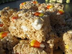Candy corn rice krispy treats my daughter will love these