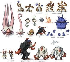 kawaiik demons thumbnails - creature design
