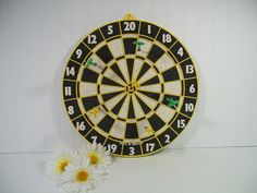 Vintage Two Sided Wooden Dart Board Plus 6 Darts - Retro GameRoom Equipment - Colorful Man Cave Wall Hanging Decor - Bulls Eye Reverse Side $49.00 by DivineOrders