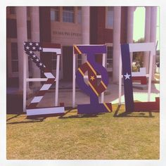 we couldnt decide which flag to use so we used all of them tfm i love these letters north texas see more sigep