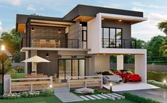 Arabella is a modern two storey house design with 3 bedrooms, total floor area of 232 square meters (not including roof deck). This house can be built in a lot 2 Storey House Design, Bungalow House Design, Bungalow House Plans, Small House Design, Cool House Designs, Modern House Design, Small Modern House Plans, Contemporary House Plans, One Bedroom House