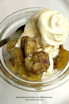 15-minute inspired by @Skinnytaste Baked Bananas Foster a la Mode Dessert at ReluctantEntertainer.com
