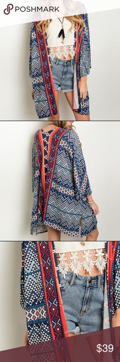 "Blue Red Aztec Tribal Kimono Cape Cardigan Tribal print kimono with an open front and three-quarter sleeves. Poly/spandex blend. Has stretch. Length from small is approx 29"". Leather and Sequins Tops Tunics"