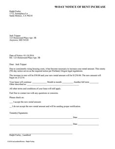 portland 90 day notice of rent increase ez landlord forms
