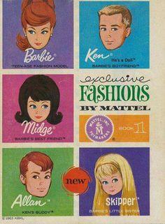 1963 Mattel Booklet - Barbie Exclusive Fashions by Mattel - Book 3 - with Barbie, Ken, Midge, NEW Allan and NEW Skipper Barbie Y Ken, Play Barbie, Barbie Stuff, Barbie Clothes, Barbie Dream, Barbie House, Mattel Barbie, Doll Stuff, Childhood Toys