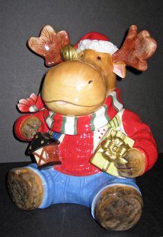 Adorable Fitz Floyd Merry Jingle Moose Christmas Cookie Jar