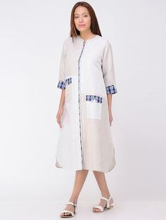 White-Blue Ikat Linen Dress with Pocket