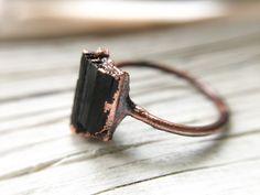 Stunning Raw Black Crystal Gemstone Ring - Natural Stone Black Tourmaline Copper Ring - Metaphysical Healing- Raw Engagement Ring