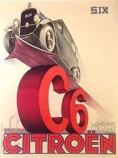 VINTAGE CAR POSTER CITROËN C6 BY PIERRE LOUYS 1929