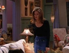 Front Butt Denim Skirt// all 90 outfits Jennifer Anniston wore during season 1 of Friends