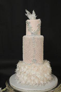 Art Deco wedding cake designed from a wedding dress. Pulled sugar feathers. - pulled sugar feathers