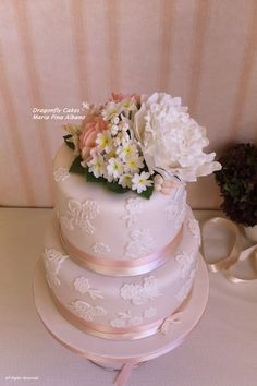 Birthday Cakes - Romantic Cake with lace and handcrafted sugar flowers