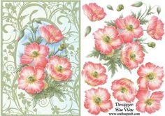 Wild Pink Poppies Card Front and Decoupage