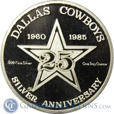 1985 Dallas Cowboys 1 oz Proof Silver http://www.gainesvillecoins.com/category/405/silver-rounds-and-bars.aspx