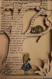 alice in wonderland and cheshire cat - book art