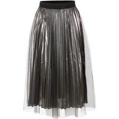 LE3NO Womens Pleated Metallic Tulle Flared Midi Skirt (768.390 VND) ❤ liked on Polyvore featuring skirts, pleated midi skirt, flared hem skirt, metallic skirt, mid calf skirts and flare skirts
