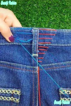 Amazing Stitching Hacks : Amazing sewing and stitching tricks using embroidery. Amazing Stitching Hacks : Amazing sewing and stitching tricks using embroidery. Sewing Hacks, Sewing Tutorials, Sewing Crafts, Sewing Tips, Sewing Ideas, Sewing Stitches, Sewing Patterns, Embroidery Patterns, Dress Patterns