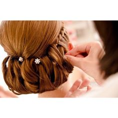 redhead bride wedding updo with braids ❤ liked on Polyvore
