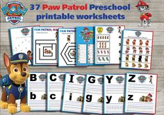 Paw Patrol Preschool printable worksheets package- Learning Pack- (NON Personalized)