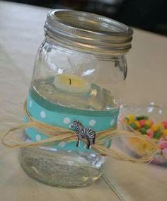 Noah's Ark baby shower centerpieces!! Floating candle, mason jar.