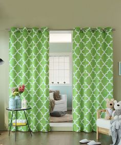 Look at this #zulilyfind! Green Moroccan Tile Curtain Panel - Set of Two #zulilyfinds
