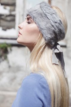 grey fur headband, ear wamer, graues Stirnband, Ohrenwärmer aus Fell, Pelz, grau