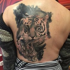 Cover up started last year.mostly healed.iphone photo #tattoo #tiger #cup…