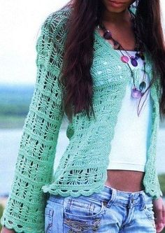 That's one of my favorite crochet stitches. It makes a cute sweater. I may have to try something similar.
