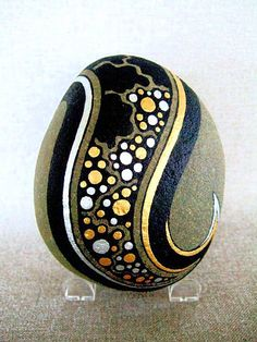 3 D Art Object, Unique Hand Painted Rock, Signed Numbered, Home or Office Decor, Galaxy Stars Design, Gold Silver Black, Gift for Him or Her...