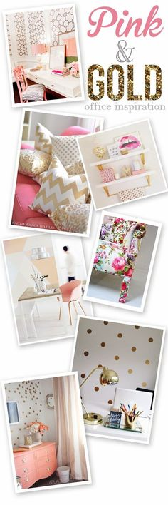 Pink and Gold Office Inspiration. I'm re-doing my home studio and I'm going for a girly glam style! Pink and Gold or Black and Gold?