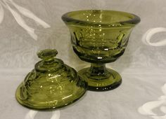 Vintage Fostoria Glass, Henry Ford Museum Argus, olive green lidded compote, marked HFM on the lid by KatsVintageTreasures on Etsy